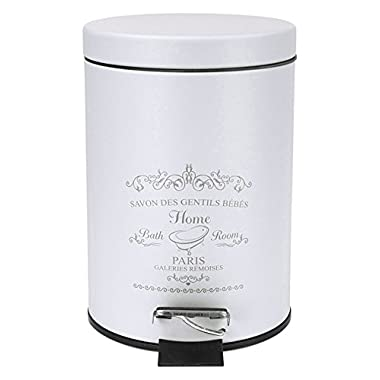 Home Basics Paris Collection Bathroom Accessories, Office, Bedroom, Decorative Waste Basket With Stylish Accent Decor To Complement Any Bathroom (Waste Bin)