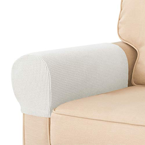 CHUN YI 2er Set Armlehnenbezüge Stretchy Armlehnenschoner für Sessel Sofa, Möbelschutz Polyester Elastisch Waschbar Sofa-Armlehnenschoner (2 Stück, Beige)