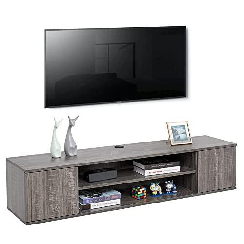 Meerviel - Meuble TV Suspendu - Meuble Télé avec 2 Etagères et 2 Portes Bois avec Rangement pour Salon Chambre, 140 x 32 x 30cm Gris