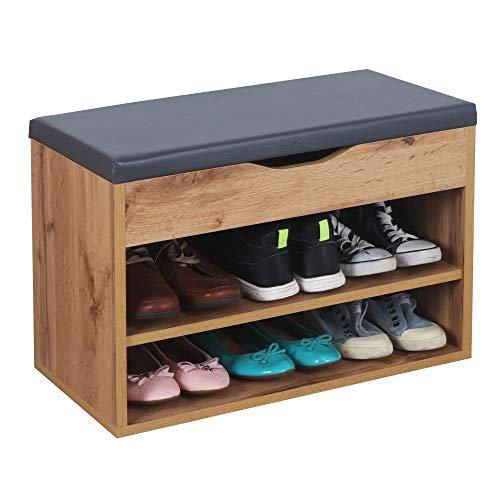 RICOO WM032-EW-A Banco Zapatero 60x42x30cm Armario Interior con Asiento Organizador Zapatos Mueble recibidor Perchero Madera Roble marrón Wotan