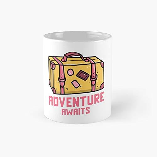 Adventure Awaits Suitcase Classic Mug Best Gift Funny Coffee Mugs 11 Oz