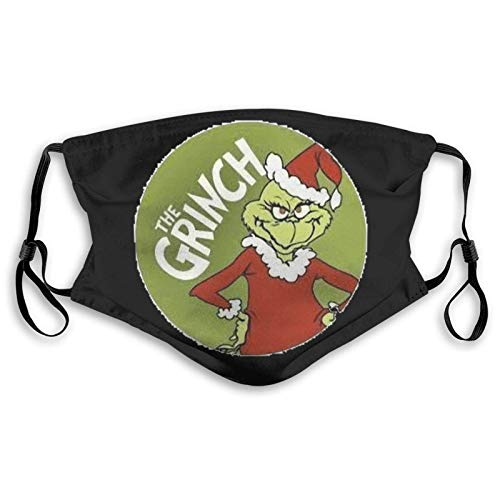 Grinch of Christmas Mask for Face Cartoon Adjustable Facial Reusable Dustproof Washable Breathable Anti-Dust Mouth with 2 Filter Size Gifts for Mens Adults & Kids Fans