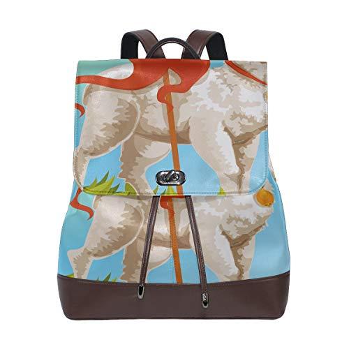 JINCAII Frohe Ostern Weiß Lamm Gottes Damenmode Taschen Leder Rucksäcke Kordelzug Wasserdicht Kinder Leder Rucksack Damenmode Taschen