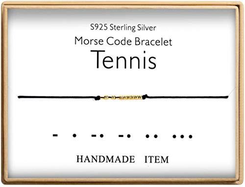 Morse Code Bracelet 925 Sterling Silver Handmade 14K Real Gold Plated Bead Adjustable String Tennis Bracelet Birthday Gifts for Tennis Lovers