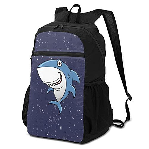 Paquete de almacenamiento Shark para hombre y mujer, ultraligero, plegable, camping, bicicletas al aire libre, mochilas escolares
