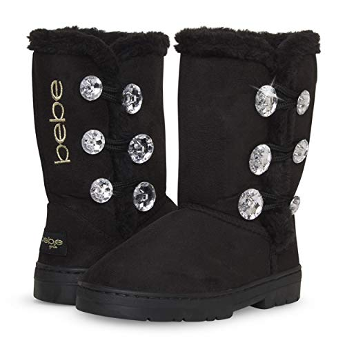 bebe Girl's Fur Lined Winter Boot with Rhinestone Details, Size 5 Toddler, Black/Gold'