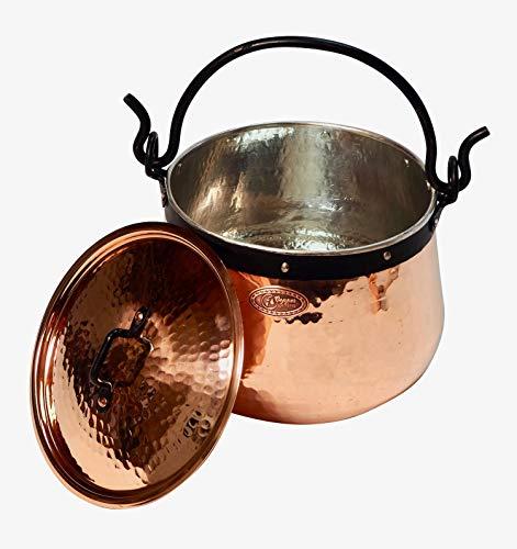 CopperGarden Kupferkessel 10 L mit Henkel & Deckel - Hexenkessel I Robuster Kessel aus verzinntem Kupfer: Ideale Wärmeleitung I Lebensmittelechter Feuerkessel für Gulasch / Glühwein uvm.