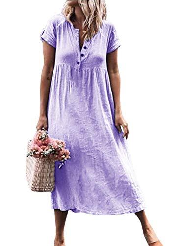 Tomwell Sommerkleid Leinen Kleider Damen V-Ausschnitt Strandkleider Einfarbig A-Linie Kleid Boho Knielang Kleid Violett DE 34