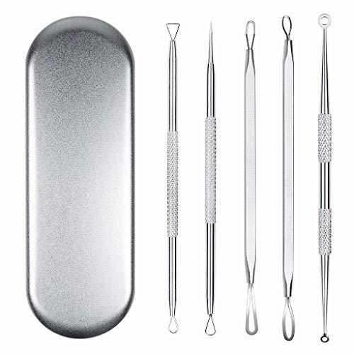 SANDIN Blackhead Remover Tool Set Extracteur d'acné Comedone Pimples Spot Zit Removal Tool avec bo?tier en métal 5PCS 5pcs