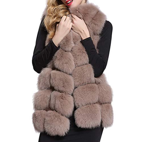 Juleya Damen Winter Kunstpelz Weste Elegant Ärmellos Lange Weste Warm Winterjacke Weste Faux Pelz Lang Felljacke Oberteile Outwear