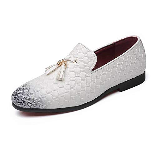 Zhulongjin Klassische Männer Weben Emboss Oxfords for Männer Slip-on Party Kleid Loafer Schuhe Synthese Leder Quaste Dekor Blockabsatz Mode Verschleißfest (Farbe : Weiß, Größe : 46 EU)