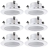 4 Inch Light White Stepped Baffle Trim - for 4' Recessed Can, Fits Halo/Juno Remodel Housing, Four Bros Lighting SB4/WHT, 6 Pack (White)