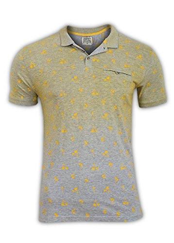 D-Struct Uomo Designer Giallo e Grigio Motivo Palme, Polo da Uomo Yellow XL