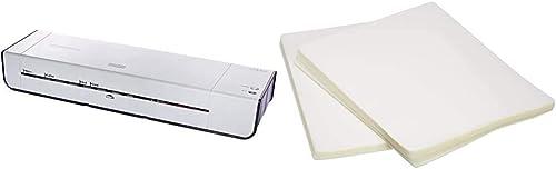 Amazon Basics 12-Inch Thermal Laminator Machine & Clear Thermal Laminating Plastic Paper Laminator Sheets - 9 Inch x ...