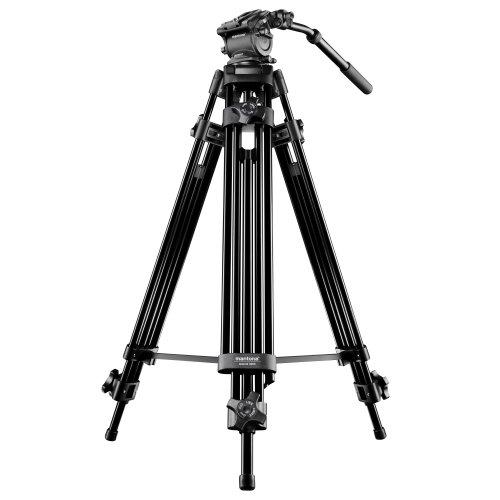 Mantona Dolomit 1300 Videostativ, 188 cm (inkl. Fluid-Neiger mit Wasserwaage, Schnellwechselplatte, Schwenkgriff, Transporttasche) für DSLR und Videokamera