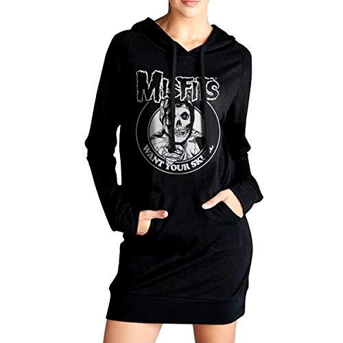 DouglasDFraser Misfits Women's Winter Dress Sweater Long Hoodie Sweatshirt M Black