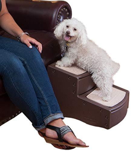 Pet Gear Easy Step II Escaleras para Mascotas, 2 peldaños para Gatos/Perros de hasta 75 Libras, portátil, extraíble y Lavable Alfombra Tread, Chocolate, 17 L...