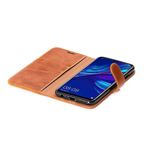 Mulbess Handyhülle für Honor 20 Lite Hülle, Leder Flip Case Schutzhülle für Huawei P Smart+ 2019 / Honor20 Lite Tasche, Cognac Braun - 6