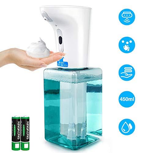 Bichiro Dispensador de jabón automático,450 ml dispensadores de jabón de Espuma infrarroja sin Contacto de, Botellas de Bomba, dispensador de jabón Ajustable para baño, Cocina, Oficina