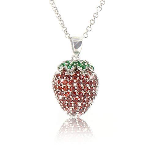 PAVEL´S Damen Halskette ERDBEERE aus reinem 925 Silber Kette mit Erdbeer Anhänger mit roten und grünen Zirkonia Steinen in AAA Qualität inkl. Schmuckbox + Echtheits-Zertifikat