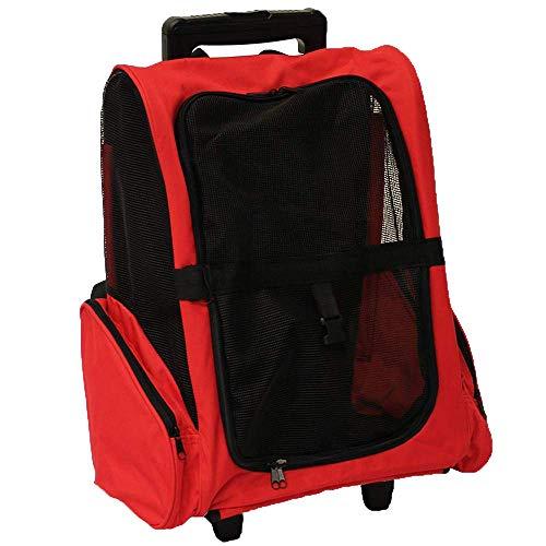 HBHJG Maletín para Transporte de Mascotas, Mochila telescópica portátil Transpirable para Mascotas (Rojo)