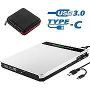 External CD DVD Drive, Slim CD DVD +/-RW Drive Player Burner Writer Reader Rewriter,Optical DVD Drive for Desktop/Laptop/MacBook/Windows/PC with SD TF Card Reader/2 USB3.0 Hubs