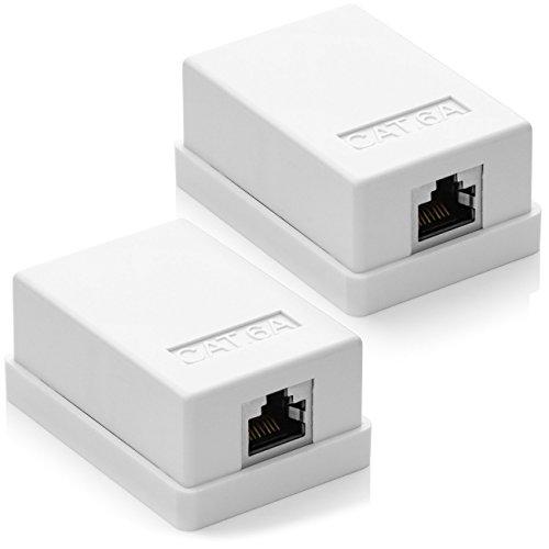 deleyCON 2X Cat 6a Superficie RJ45 1x Puertos Conector de Red Blindados FTP 10 Gbit Ethernet LAN Cable de Conexión - Blanco