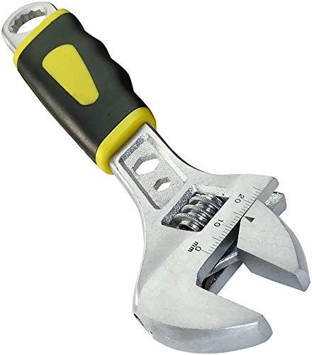 AERZETIX - Llave inglesa Ajustable de boca - 200mm - Regulable de 0 a 28.6mm - Mango recto - Manija Antideslizante Bi-Materia - Versatilidad - Mandíbula reversible inclinada 23° - acero CR-V - C45625