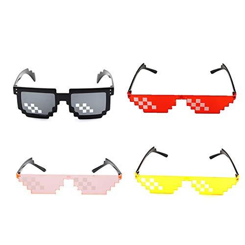 Mosaico Pixelado Gafas Gafas De Sol Thug Life Gafas De Fiesta Negras Gafas De Sol Pixelated Unisex Accesorios De Decoración De Moda Para Fiestas Plástico Pc Gris Amarillo Rojo Rosado 4 Piezas
