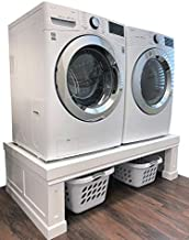 """The Elevation Pedestal   Raises Your Washer & Dryer   Fits All Machines, Samsung, LG, GE, Whirlpool, Electrolux, Kenmore   Adds Storage, Beautifies Your Laundry Room   Premium, Solid Wood, 52-57"""" Wide"""