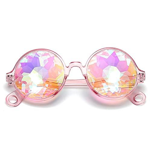ShZyywrl Sonnenbrille Runde Glas Facette Prisma Brille Frauen Diamant PsychedelicMänner Lustige Rave Festival Party Prom Sonnenbrille Apink