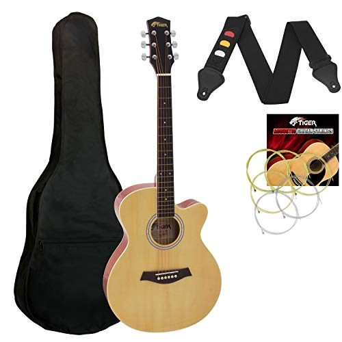 Tiger Small Body Acoustic Guitar for Beginners Guitar - Natural, Full