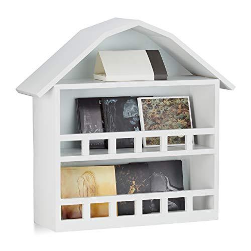Relaxdays Étagère en forme de maison 3 compartiments balcon mural décoration bois MDF laqué HxlxP: 50 x 52 x 15 cm, blanc