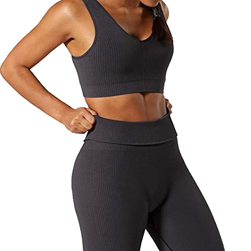 Women 2 PCS Workout Set Seamless Super Soft Material Deep V Neck Bra+Leggings Sports Suit Yoga Outfits Dark Grey