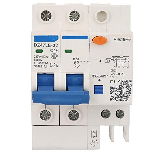 Modulo interruttore automatico protezione differenziale dispersione corrente residua in miniatura DZ47LE-32 2P + 2 C16 230V 16A