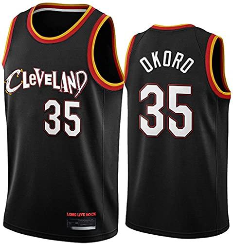 XSJY Jersey para Hombre Y Mujer NBA Cavaliers 35# Isaac Okoro Baloncesto Entrenamiento De Baloncesto Deportes Y Ocio Secado Rápido Vestido Sin Mangas Transpirable,A,XL:180~185cm/85~95kg