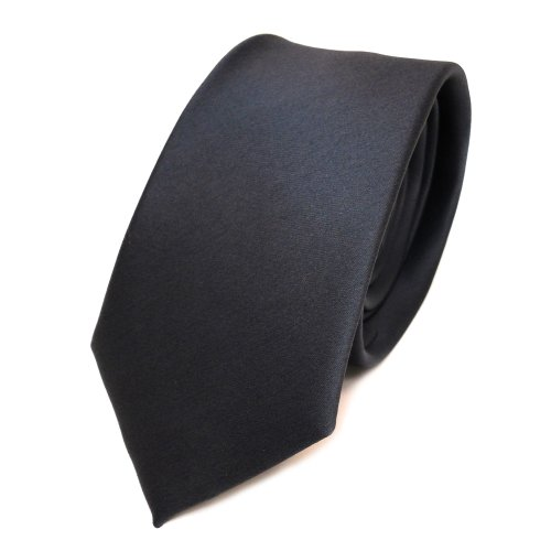 TigerTie schmale Satin Krawatte in anthrazit grau dunkelgrau einfarbig uni