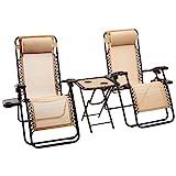 Amazon Basics - Set de 2 sillas con gravedad cero y mesa auxiliar, de color beis