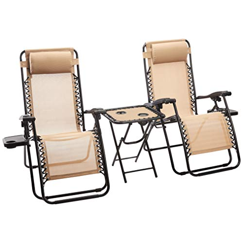 AmazonBasics Zero Gravity Chair with Side Table - Set of 2, Tan