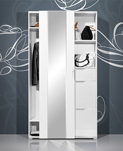 lifestyle4living Garderobenschrank in Hochglanz weiß mit Schiebetür, ausziehb. Kleiderstange, 2 Schuhkörbe, 1 Schublade, 2 Fächer Maße: B/H/T ca. 106/193/36 cm