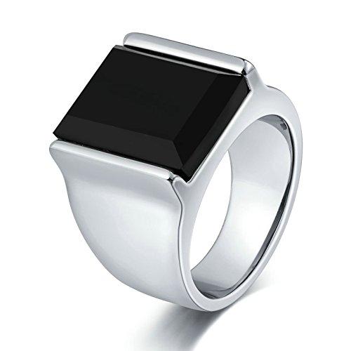 KnSam Anillo para hombre, anillo gótico tótem ovalado de acero inoxidable, anillo de sello para hombre con circonita plateada con grabado gratuito, Acero inoxidable, Circonita cúbica.,