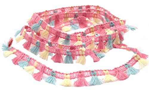 Stephanoise Fransen Pompon,farbig, 15mm breit, nähen, Meterware, 1 Meter (Pastell)