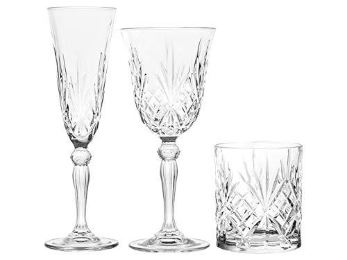 Rcr 735112 12 copas y 6 vasos, cristal, transparente
