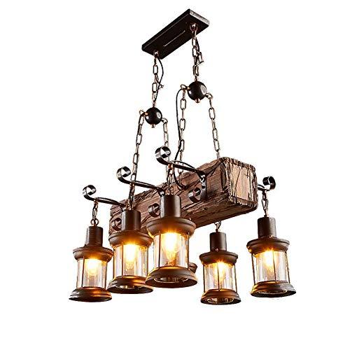 YQDSY Lámpara de Madera Industrial de la Vendimia Ajustable, 6 Luces Elegantes Elegantes Elegantes Elegantes Luces de Techo Accesorios E27 Lámpara de Luz Colgante para Restaurante B