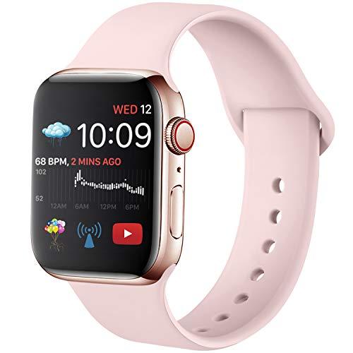 Hamily Armband Kompatibel für Apple Watch 38mm 40mm, Weiche Silikon Wasserdicht Ersatz Uhrenarmbänder für Apple Watch Series 5/4/3/2/1, S/M Rosa
