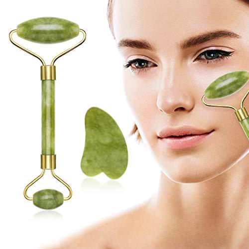 Ledeak Rodillo De Jade, Natural Facial Masaje Piedra Gua Sha Jade, Anti-envejecimiento Masajeador Roller Tools para Cuello Cara Ojos Cabeza Cuerpo