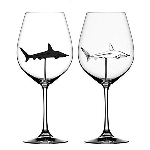2pcs verre Coupe Verre Cristal Requin Rouge Verre à vin Coupe Bouteille de vin en verre talon haut requin Coupe du vin rouge de soirée de mariage cadeau Verrerie Bière Couples