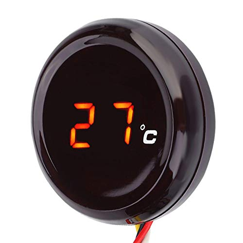 Reminnbor Motorrad Thermometer Digital Thermometer Wassertemperaturanzeige Manometer(Rot)