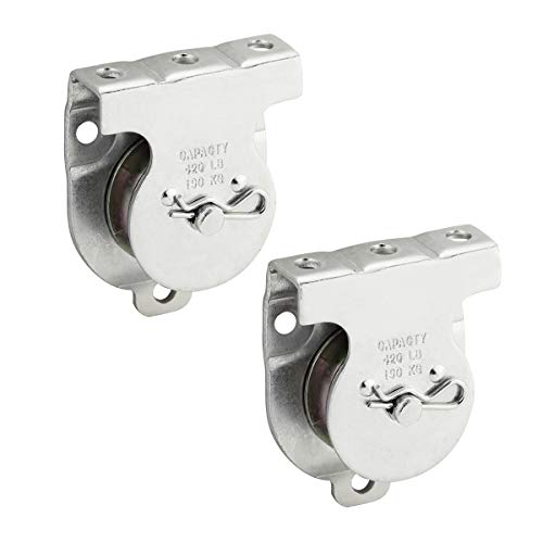 "Leadrise Hardware N233-247 3219BC Ceiling Mount Single Pulley Wall Mount Pulley Ceiling Pulley in Zinc, 1-1/2"", 2 Pack"