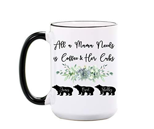Mama Bear Mug - Personalized Large 15 oz or 11 oz Ceramic Cup - Mama Bear Coffee Mugs - Mama Bear Gift - Mom Gifts for Moms - Dishwasher & Microwave Safe - Made In USA